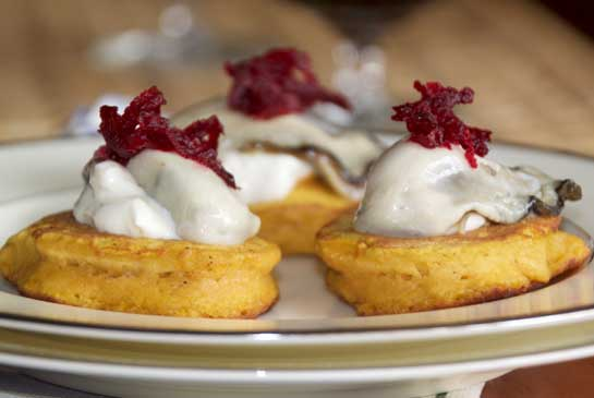 PUMPKIN AND ALE BLINI WITH OYSTERS AND BEET RELISH